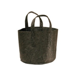 The handles go all the way around the base of the bag, sewn in securely so you can move it even when it's full of soil!