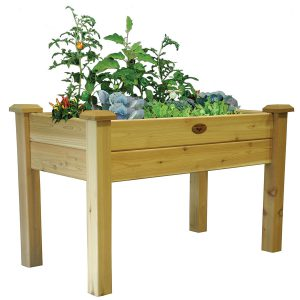 With elevated planting beds, you can garden while sitting or standing -- a nice treat for your back and knees!