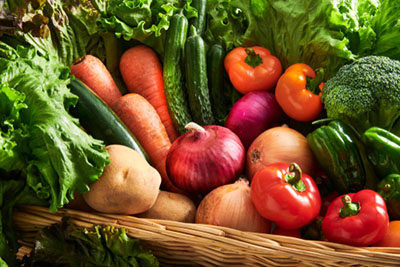 collection of fresh vegetables in basket