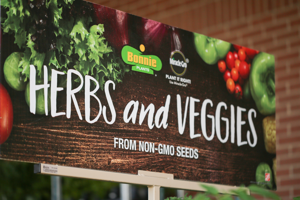 Herbs and Veggies from NON-GMO seeds sign
