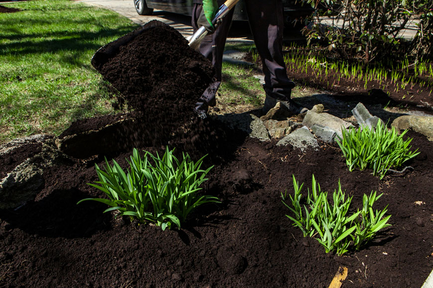shoveling soil over garden
